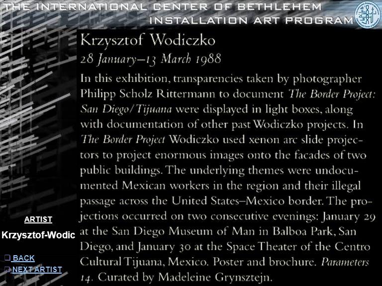 ARTIST Krzysztof-Wodic  INFORMATION INFORMATION  NEXT ARTISTNEXT ARTIST