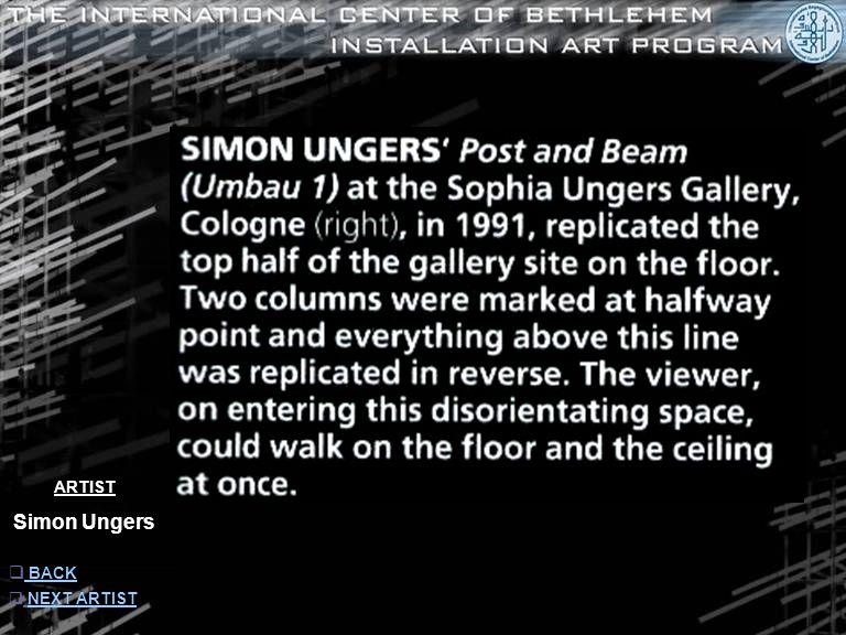 ARTIST Simon Ungers  INFORMATION INFORMATION  NEXT ARTISTNEXT ARTIST