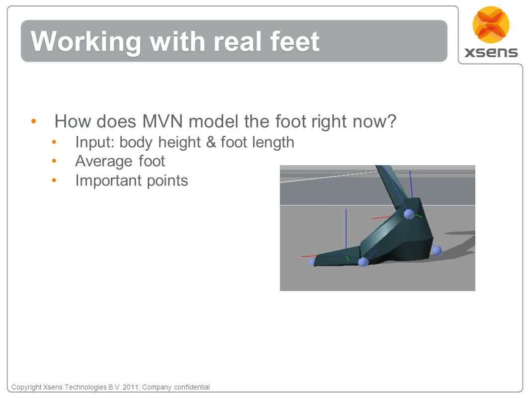 Copyright Xsens Technologies B.V. 2011; Company confidential How does MVN model the foot right now? Input: body height & foot length Average foot Impo