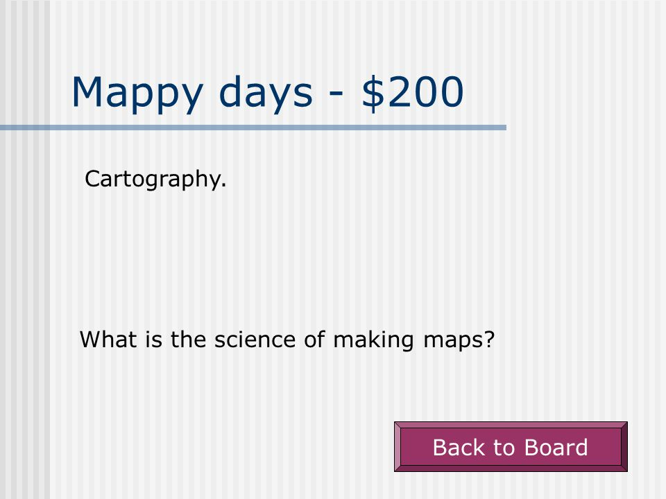 Woop There it is. - $100 An exact place on a map. What is absolute location Back to Board