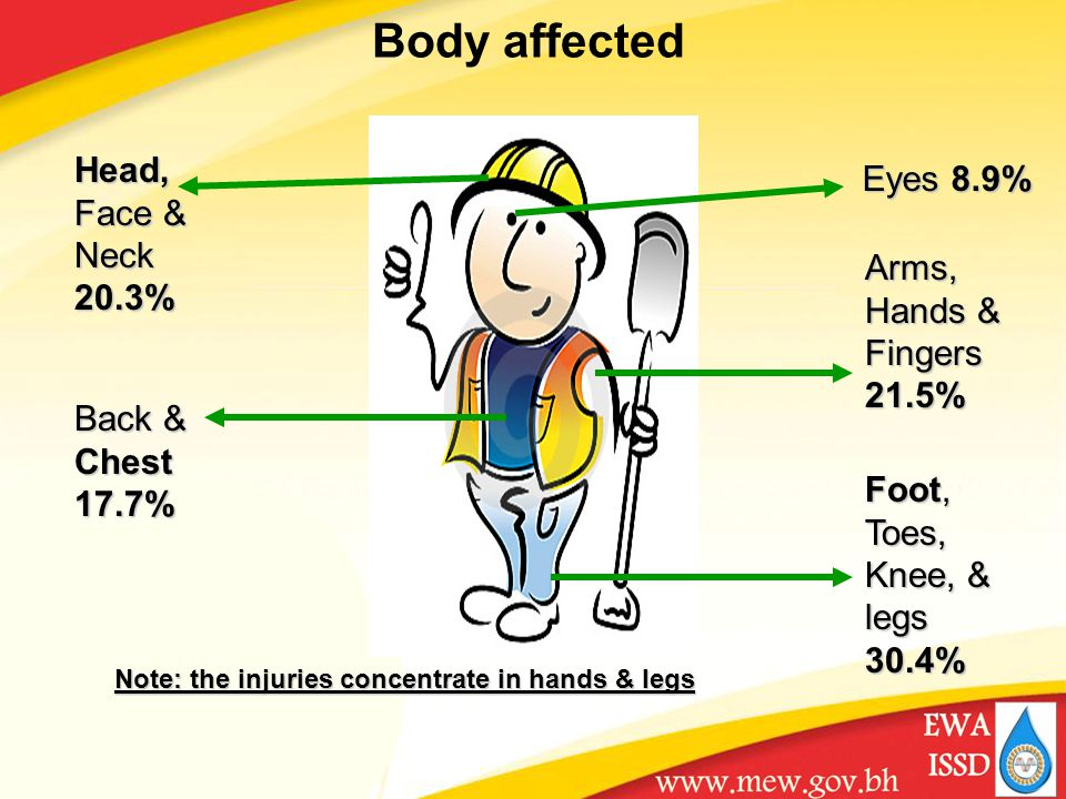 Body affected Arms, Hands & Fingers 21.5% Foot, Toes, Knee, & legs 30.4% Eyes 8.9% Head, Face & Neck 20.3% Back & Chest 17.7% Note: the injuries concentrate in hands & legs