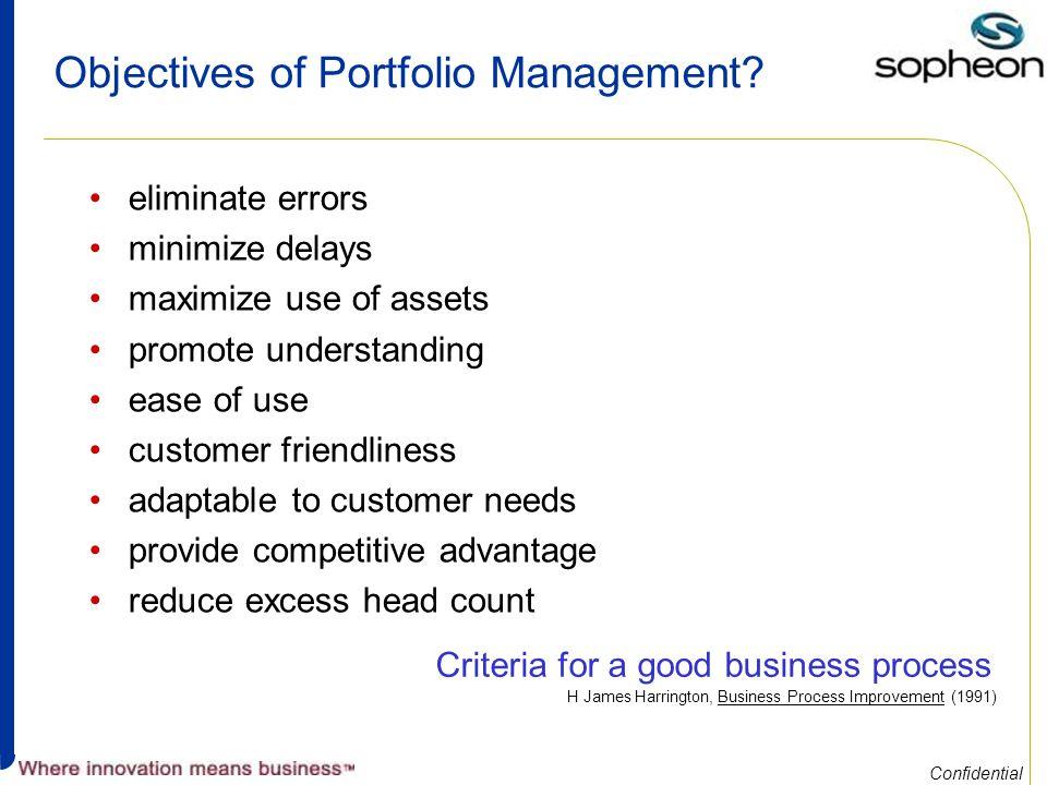 Confidential Objectives of Portfolio Management.