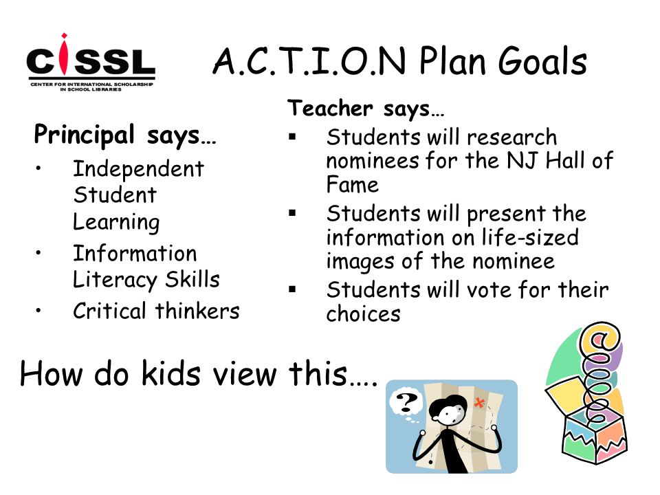 A.C.T.I.O.N Plan Goals Principal says… Independent Student Learning Information Literacy Skills Critical thinkers Teacher says…  Students will research nominees for the NJ Hall of Fame  Students will present the information on life-sized images of the nominee  Students will vote for their choices How do kids view this….