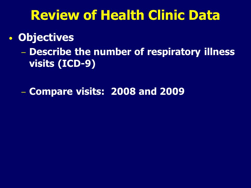 Review of Health Clinic Data Objectives – Describe the number of respiratory illness visits (ICD-9) – Compare visits: 2008 and 2009