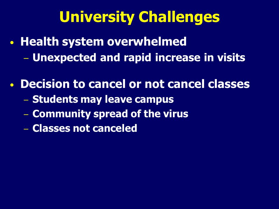 University Challenges Health system overwhelmed – Unexpected and rapid increase in visits Decision to cancel or not cancel classes – Students may leave campus – Community spread of the virus – Classes not canceled