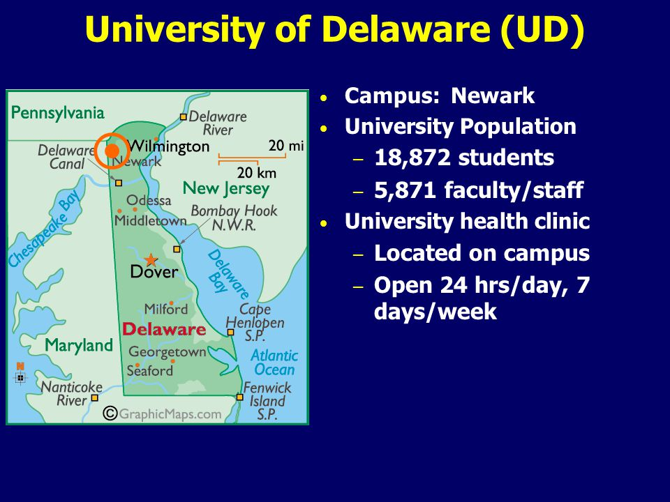 University of Delaware (UD) Campus: Newark University Population – 18,872 students – 5,871 faculty/staff University health clinic – Located on campus – Open 24 hrs/day, 7 days/week