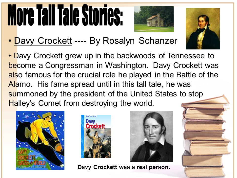 Davy Crockett ---- By Rosalyn Schanzer Davy Crockett grew up in the backwoods of Tennessee to become a Congressman in Washington.