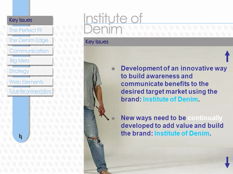 Development of an innovative way to build awareness and communicate benefits to the desired target market using the brand: Institute of Denim. New way
