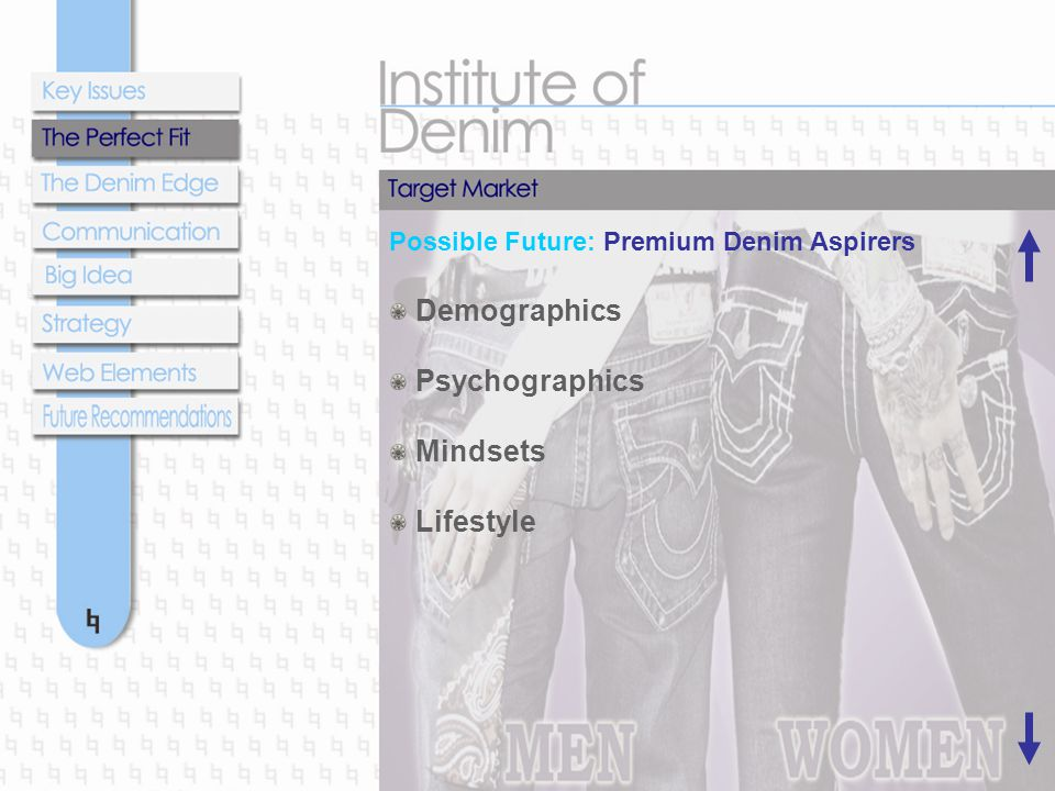 Possible Future: Premium Denim Aspirers Demographics Psychographics Mindsets Lifestyle
