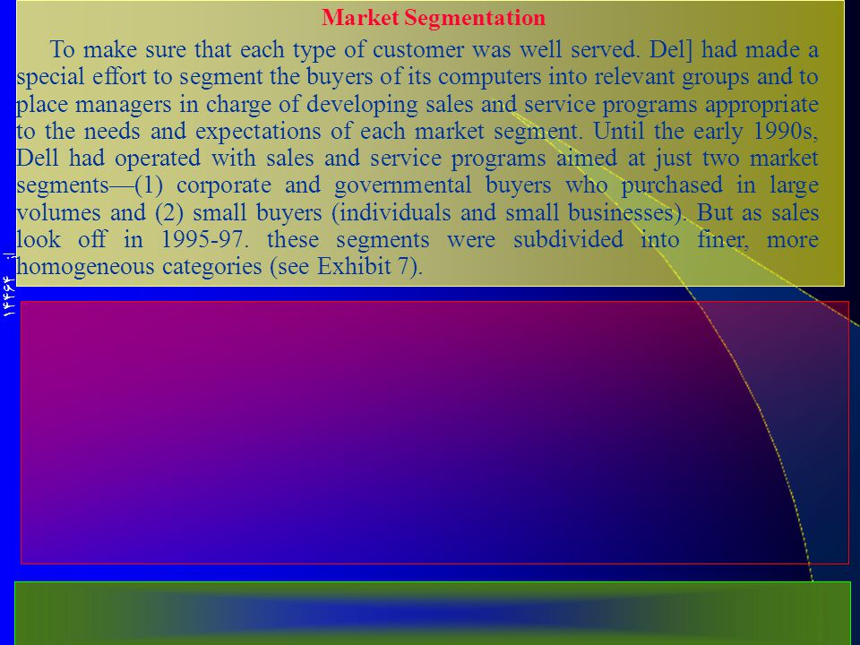 از 14464 Market Segmentation To make sure that each type of customer was well served.