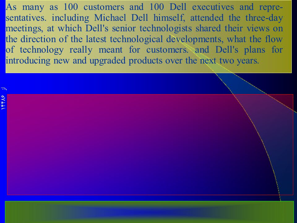 از 14486 As many as 100 customers and 100 Dell executives and repre­ sentatives.