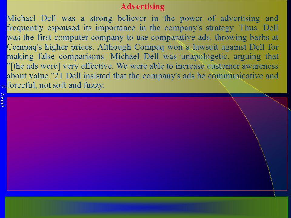 از 14497 Advertising Michael Dell was a strong believer in the power of advertising and frequently espoused its importance in the company s strategy.
