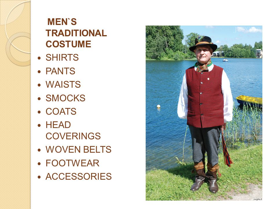 MEN`S TRADITIONAL COSTUME SHIRTS PANTS WAISTS SMOCKS COATS HEAD COVERINGS WOVEN BELTS FOOTWEAR ACCESSORIES