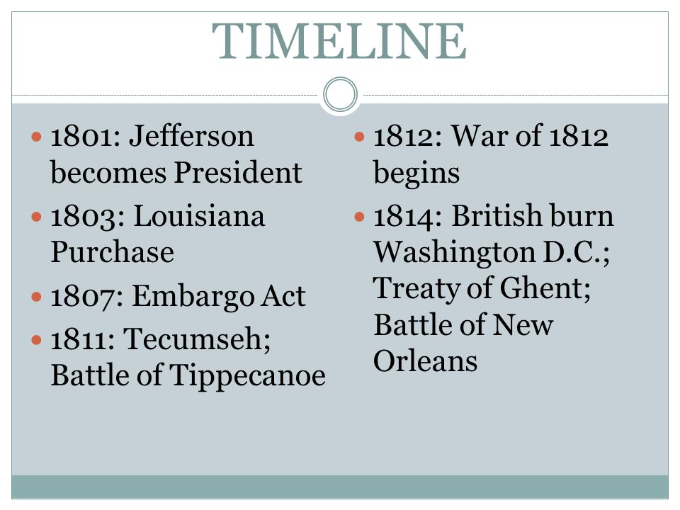 TIMELINE 1801: Jefferson becomes President 1803: Louisiana Purchase 1807: Embargo Act 1811: Tecumseh; Battle of Tippecanoe 1812: War of 1812 begins 1814: British burn Washington D.C.; Treaty of Ghent; Battle of New Orleans