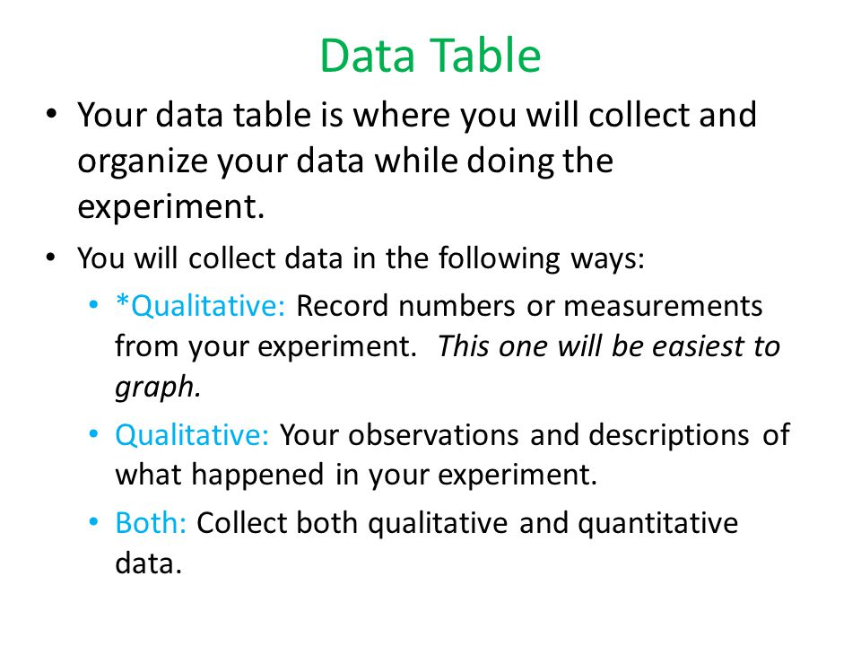 Data Table Your data table is where you will collect and organize your data while doing the experiment.