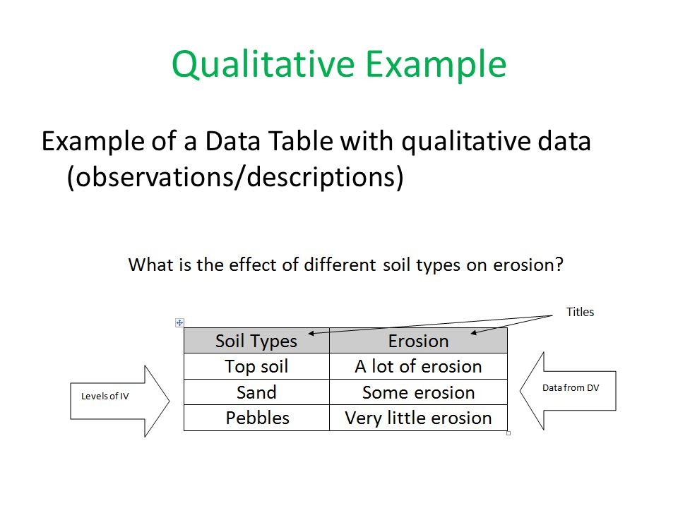 Qualitative Example Example of a Data Table with qualitative data (observations/descriptions)