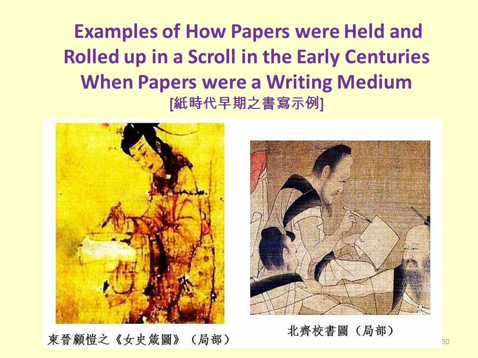 Examples of How Papers were Held and Rolled up in a Scroll in the Early Centuries When Papers were a Writing Medium [ 紙時代早期之書寫示例 ] 30