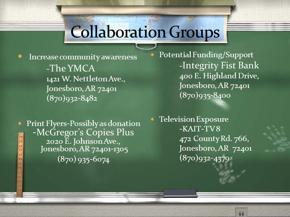 Increase community awareness - The YMCA 1421 W.