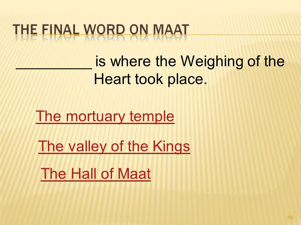 68 _________ is where the Weighing of the Heart took place.