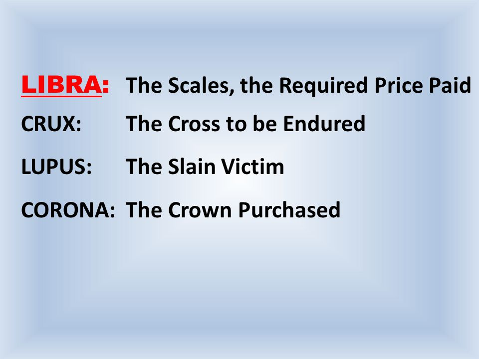 LIBRA: The Scales, the Required Price Paid CRUX: The Cross to be Endured LUPUS:The Slain Victim CORONA:The Crown Purchased