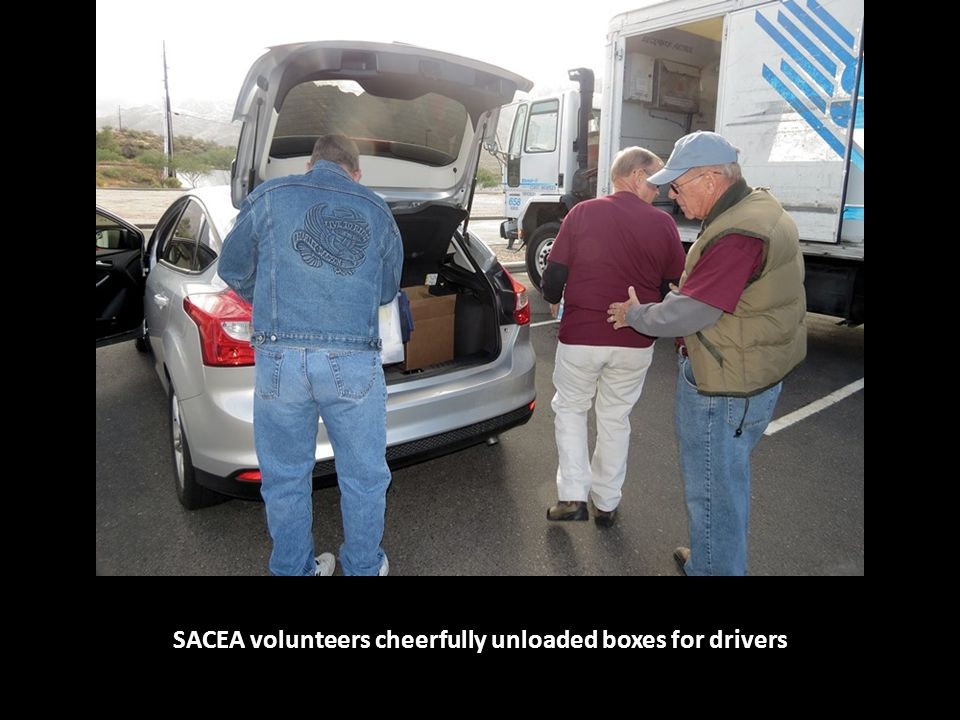 SACEA volunteers cheerfully unloaded boxes for drivers