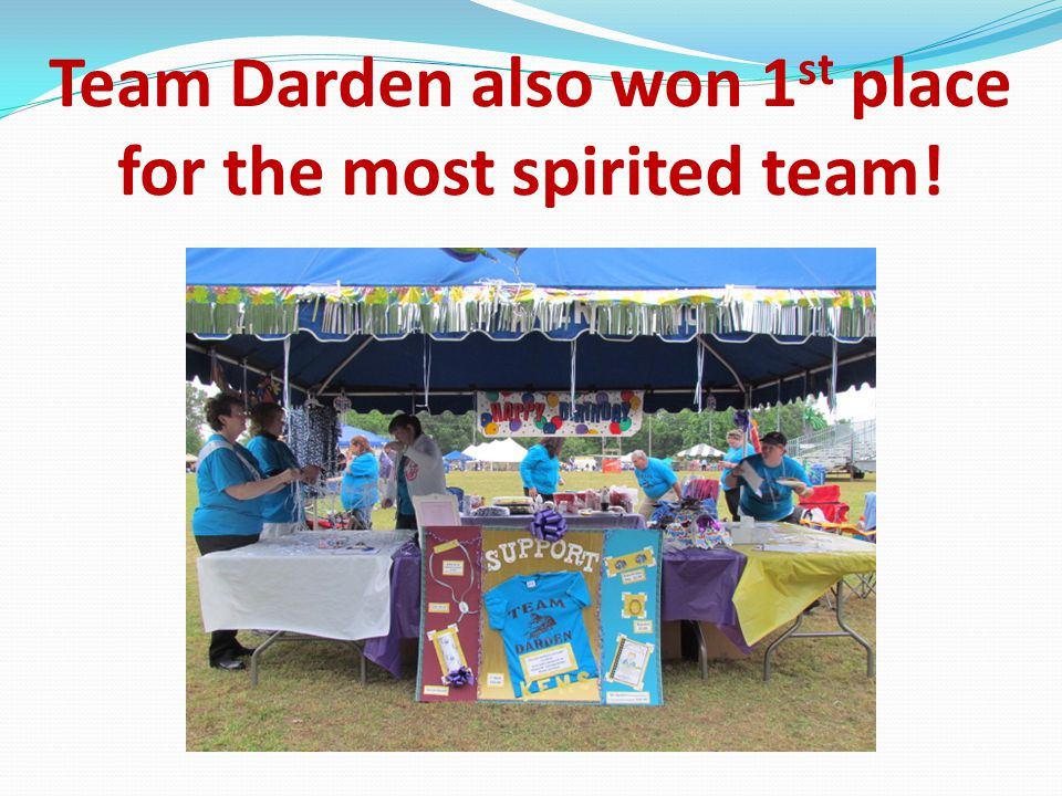 Team Darden also won 1 st place for the most spirited team!