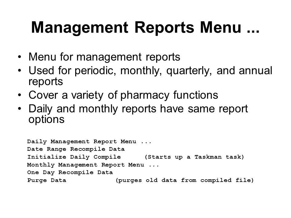 Management Reports Menu...