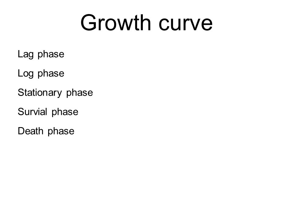 Lag phase Log phase Stationary phase Survial phase Death phase