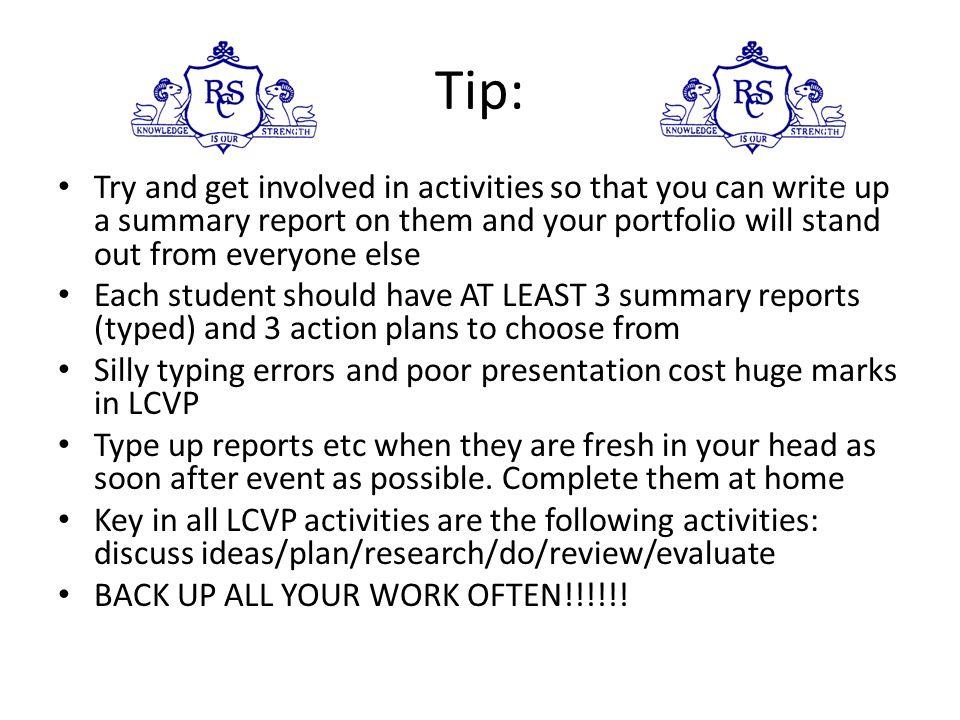 LCVP Exam Structure The Portfolio Core: (60%) Curriculum Vitae Summary Report Career investigation Enterprise/Action Plan Options - any 2 of below Dia