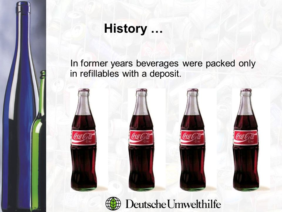 In former years beverages were packed only in refillables with a deposit. History …