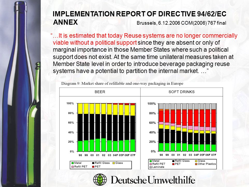 Material consumption Source: IFEU Institute LCA III/2003 - relevant beverage packaging for beer Global warming potential Environmental performance of different packaging 1/2