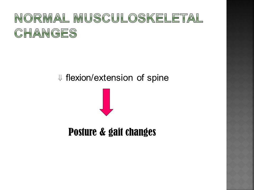  flexion/extension of spine Posture & gait changes