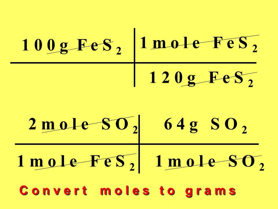 1 0 0 g F e S 2 1 m o l e F e S 2 1 2 0 g F e S 2 2 m o l e S O 2 6 4 g S O 2 1 m o l e F e S 2 1 m o l e S O 2 C o n v e r t m o l e s t o g r a m s