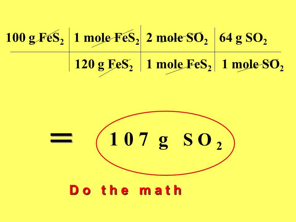 100 g FeS 2 1 mole FeS 2 2 mole SO 2 64 g SO 2 120 g FeS 2 1 mole FeS 2 1 mole SO 2 1 0 7 g S O 2 = = D o t h e m a t h