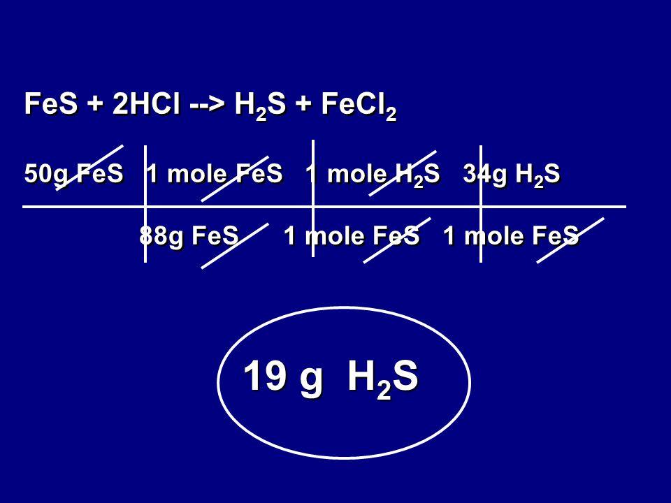 FeS + 2HCl --> H 2 S + FeCl 2 50g FeS 1 mole FeS 1 mole H 2 S 34g H 2 S 88g FeS 1 mole FeS 1 mole FeS 19 g H 2 S