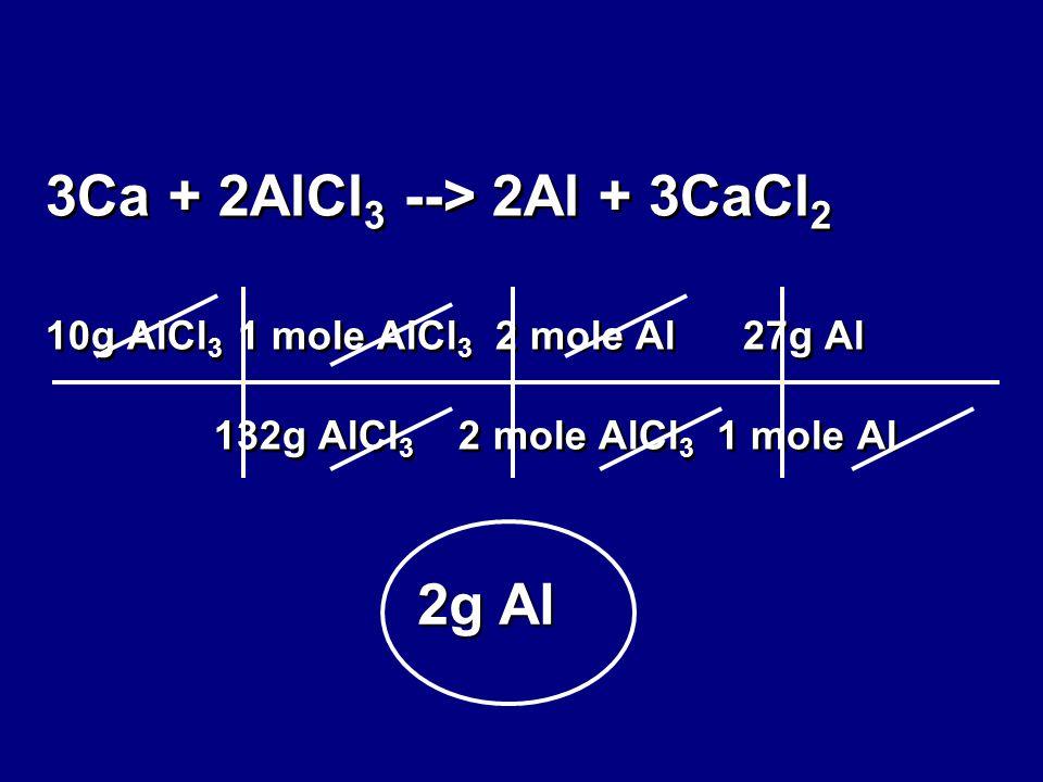 3Ca + 2AlCl 3 --> 2Al + 3CaCl 2 10g AlCl 3 1 mole AlCl 3 2 mole Al 27g Al 132g AlCl 3 2 mole AlCl 3 1 mole Al 2g Al