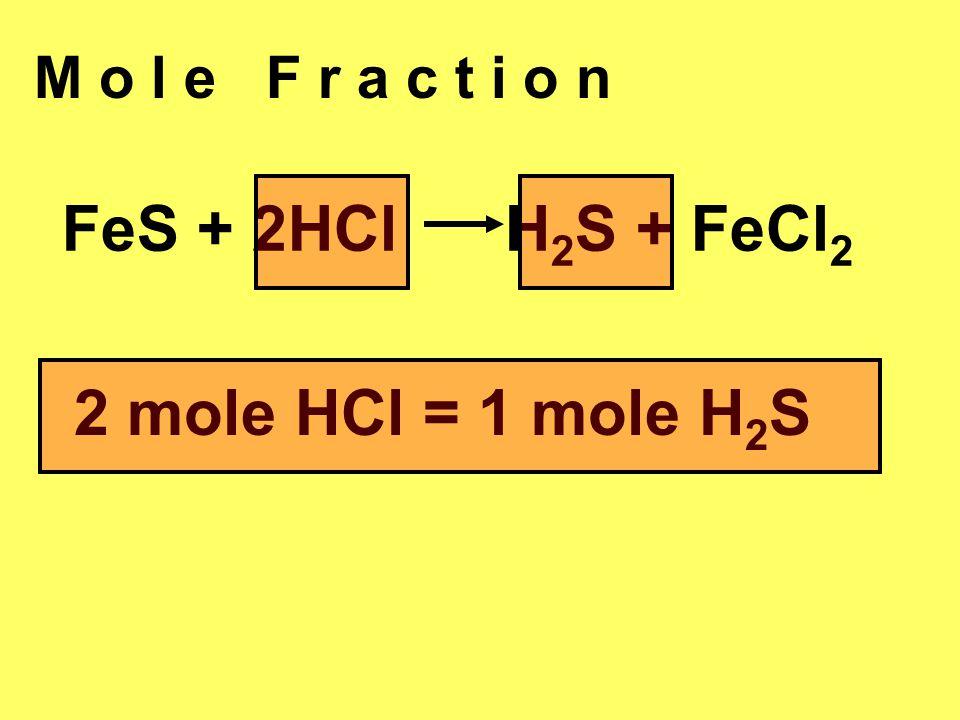 M o l e F r a c t i o n FeS + 2HCl H 2 S + FeCl 2 2 mole HCl = 1 mole H 2 S