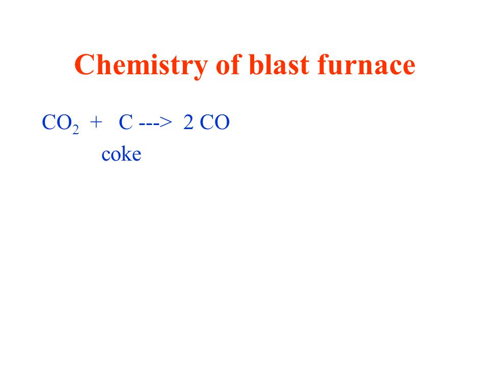 Chemistry of blast furnace CO 2 + C ---> 2 CO coke