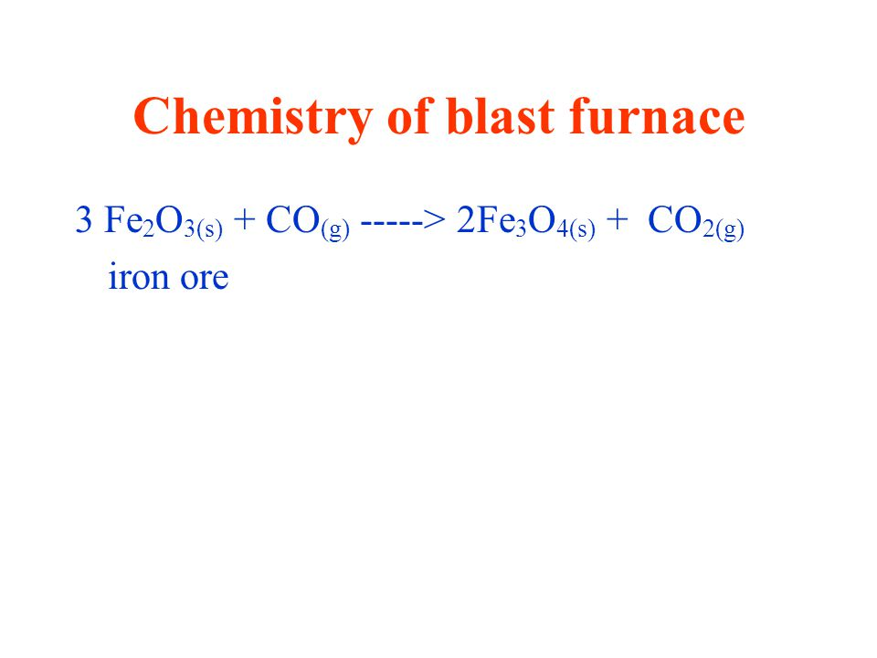 Chemistry of blast furnace 3 Fe 2 O 3(s) + CO (g) -----> 2Fe 3 O 4(s) + CO 2(g) iron ore