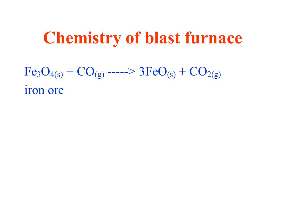 Chemistry of blast furnace Fe 3 O 4(s) + CO (g) -----> 3FeO (s) + CO 2(g) iron ore