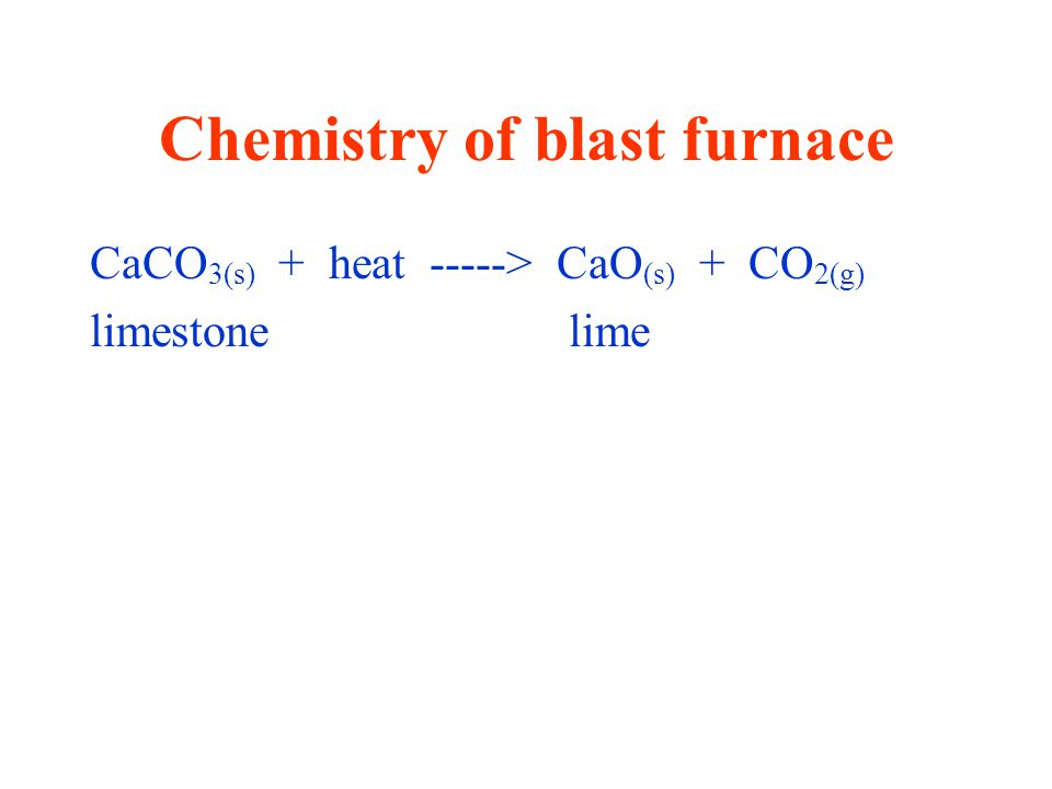 Chemistry of blast furnace CaCO 3(s) + heat -----> CaO (s) + CO 2(g) limestone lime