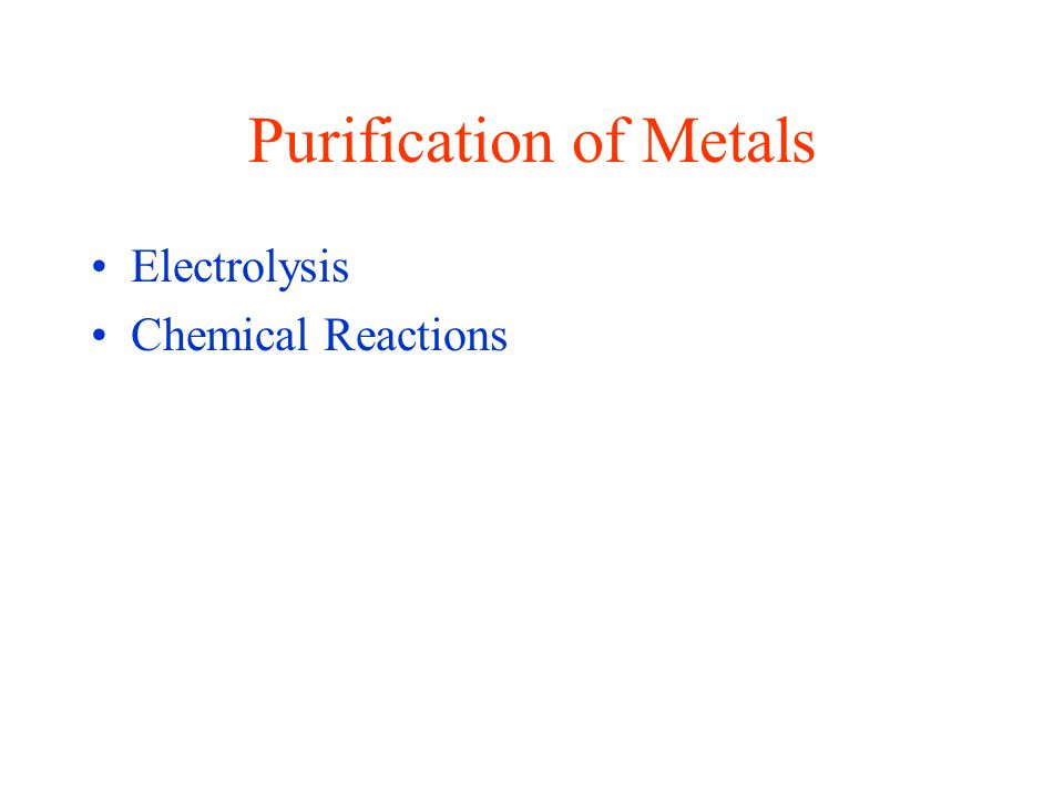 Purification of Metals Electrolysis Chemical Reactions