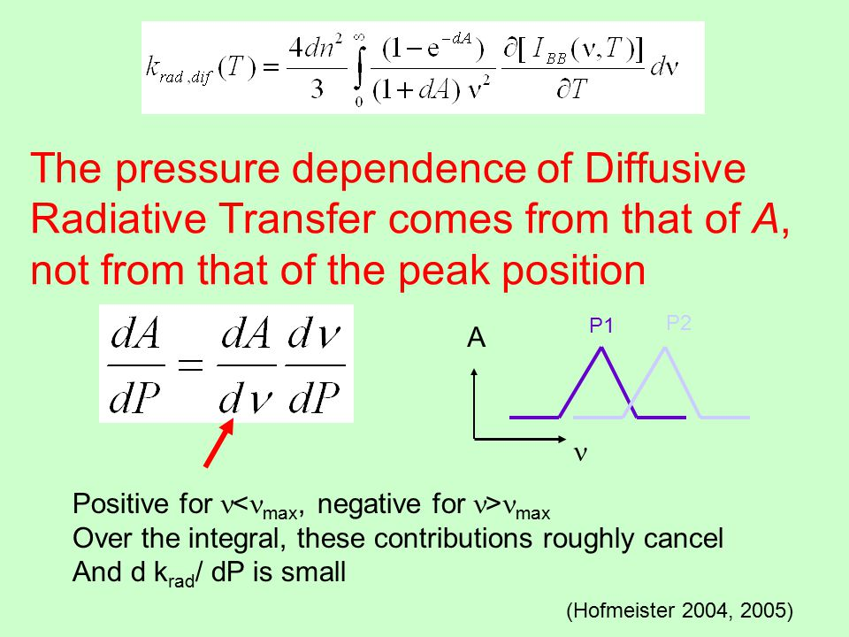 The pressure dependence of Diffusive Radiative Transfer comes from that of A, not from that of the peak position (Hofmeister 2004, 2005) Positive for max Over the integral, these contributions roughly cancel And d k rad / dP is small A P1 P2