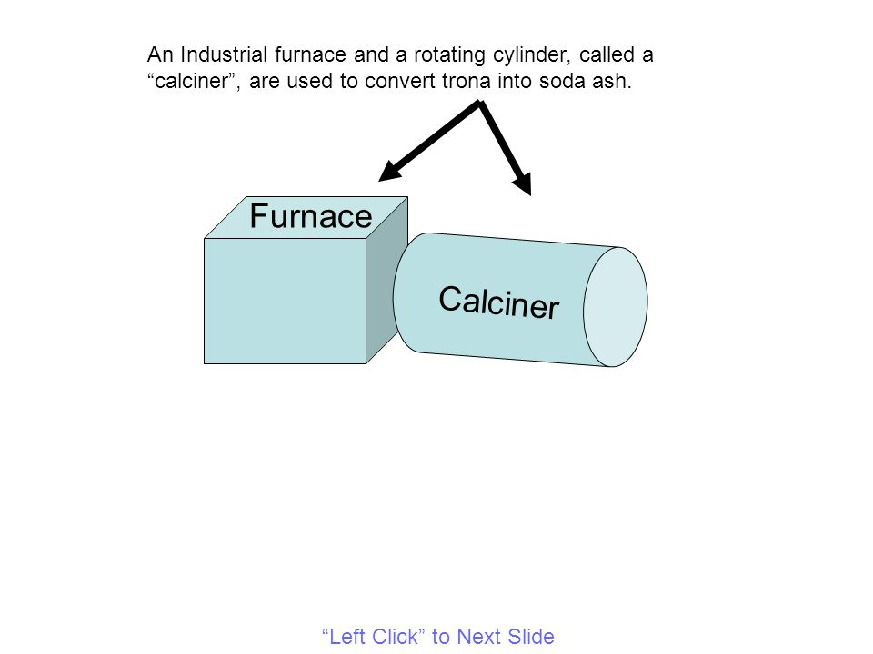 Furnace Calciner An Industrial furnace and a rotating cylinder, called a calciner , are used to convert trona into soda ash.