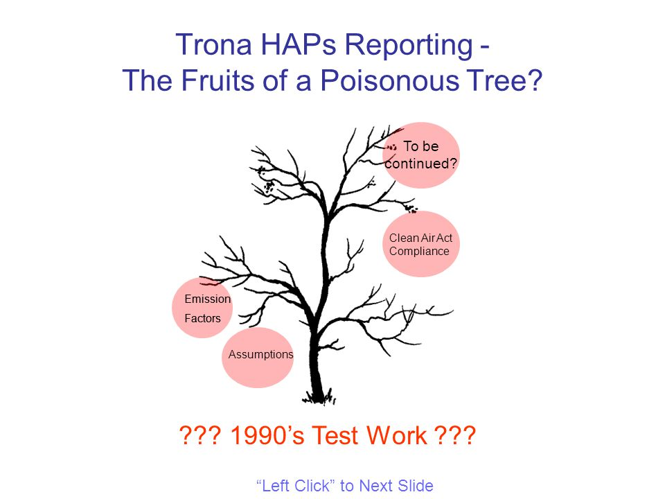 Trona HAPs Reporting - The Fruits of a Poisonous Tree.