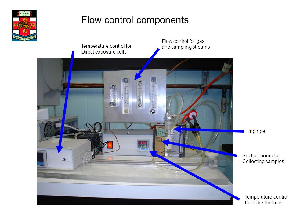 Flow control components Temperature control for Direct exposure cells Flow control for gas and sampling streams Impinger Suction pump for Collecting samples Temperature control For tube furnace