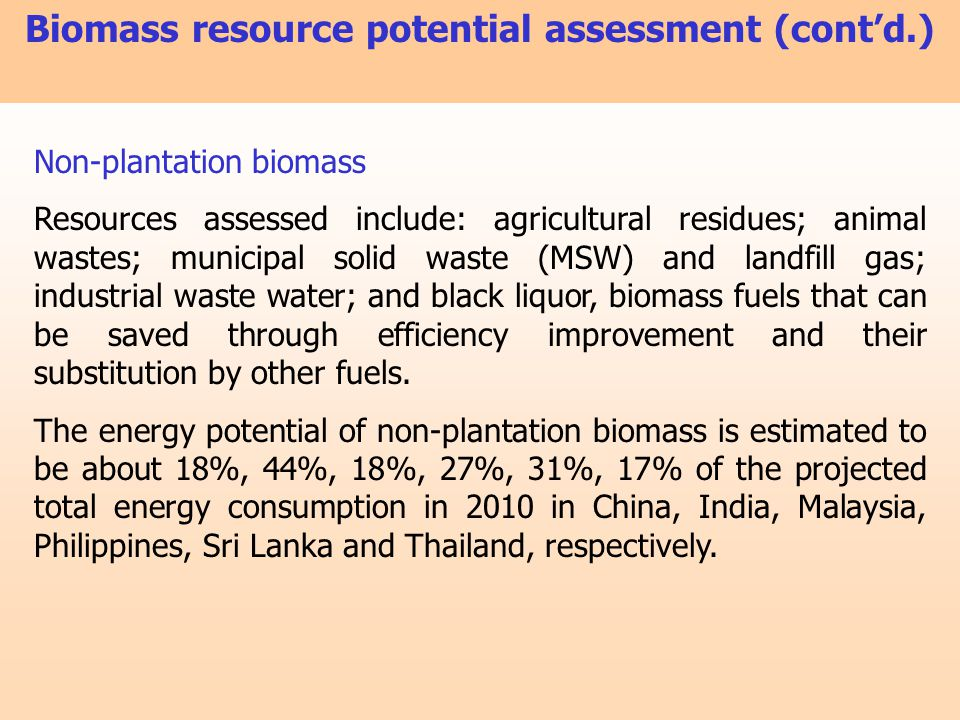 Non-plantation biomass Resources assessed include: agricultural residues; animal wastes; municipal solid waste (MSW) and landfill gas; industrial wast