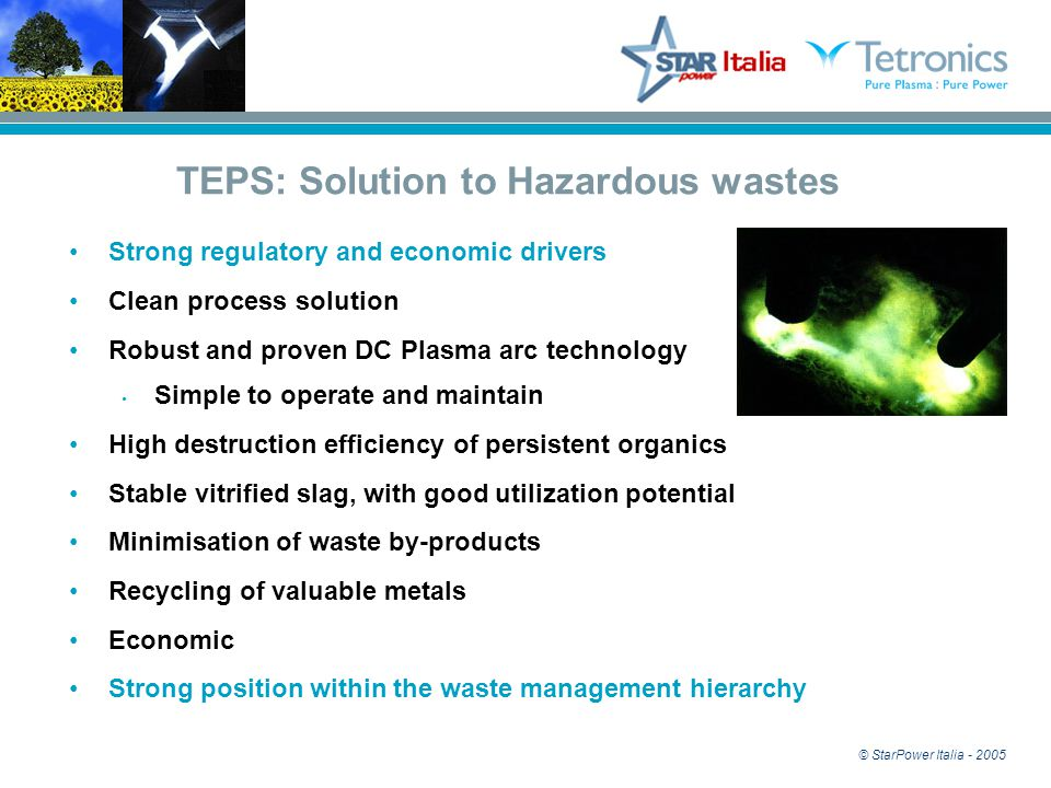 © StarPower Italia - 2005 TEPS: Solution to Hazardous wastes Strong regulatory and economic drivers Clean process solution Robust and proven DC Plasma arc technology Simple to operate and maintain High destruction efficiency of persistent organics Stable vitrified slag, with good utilization potential Minimisation of waste by-products Recycling of valuable metals Economic Strong position within the waste management hierarchy