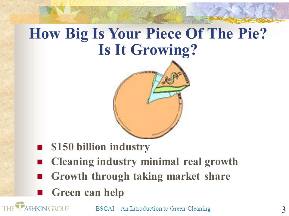 BSCAI – An Introduction to Green Cleaning 3 How Big Is Your Piece Of The Pie? Is It Growing? $150 billion industry Cleaning industry minimal real grow
