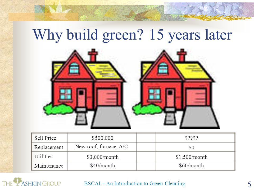 BSCAI – An Introduction to Green Cleaning 26 No Matter the Size of Your Piece of Pie Green Can Help It Grow